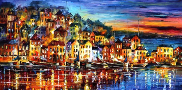 night_harbor___leonid_afremov_by_leonidafremov-d3il5sq